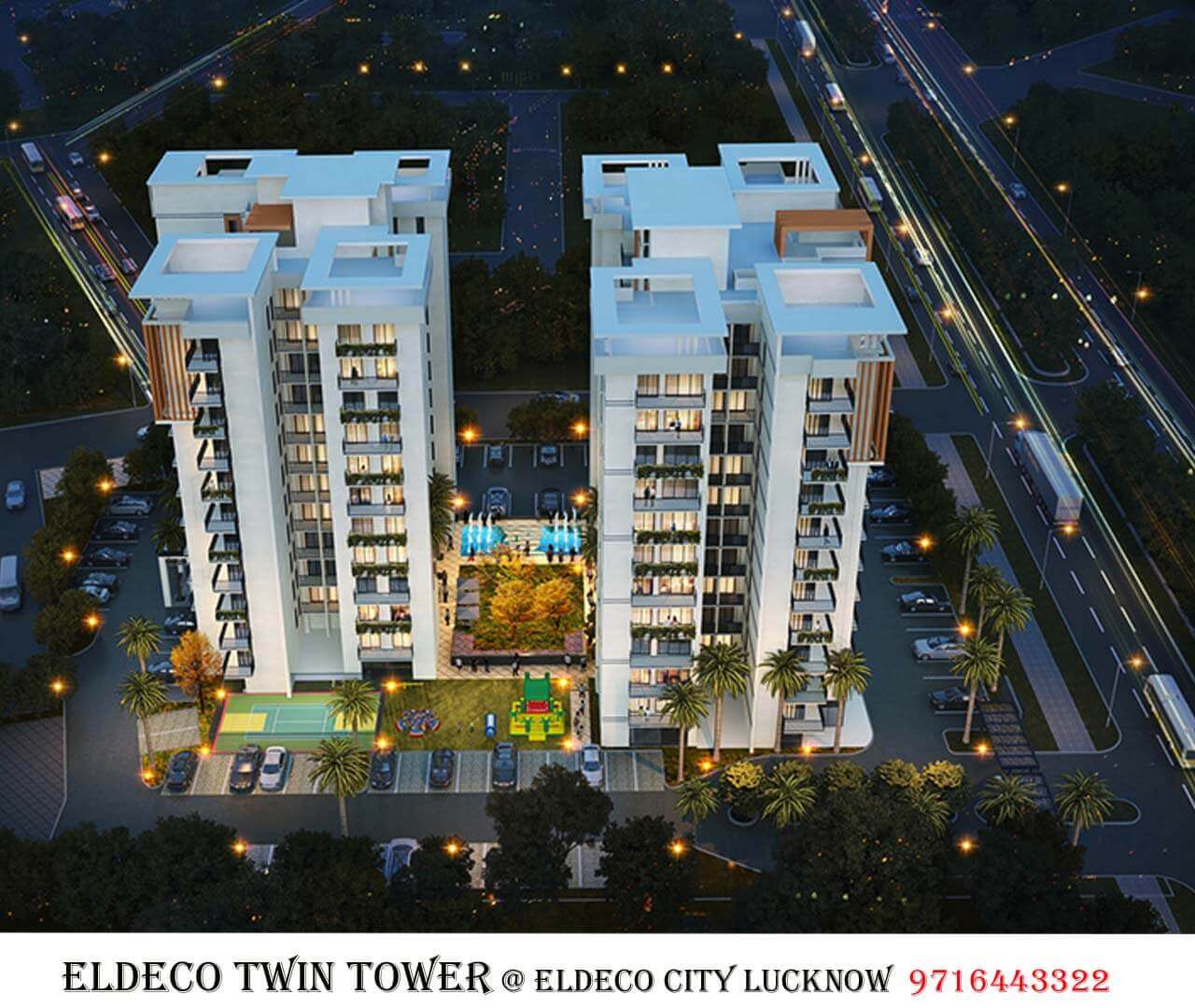 Night view of Eldeco Twin Tower lucknow